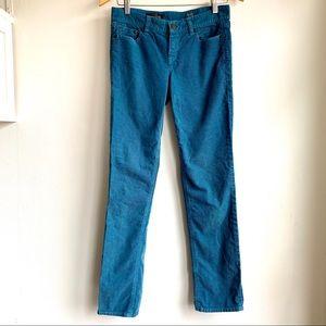 J crew matchstick turquoise corduroy pants size 25